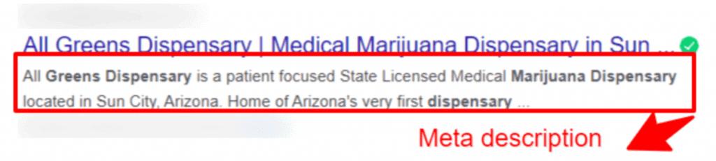 meta describtion cannabis marketing