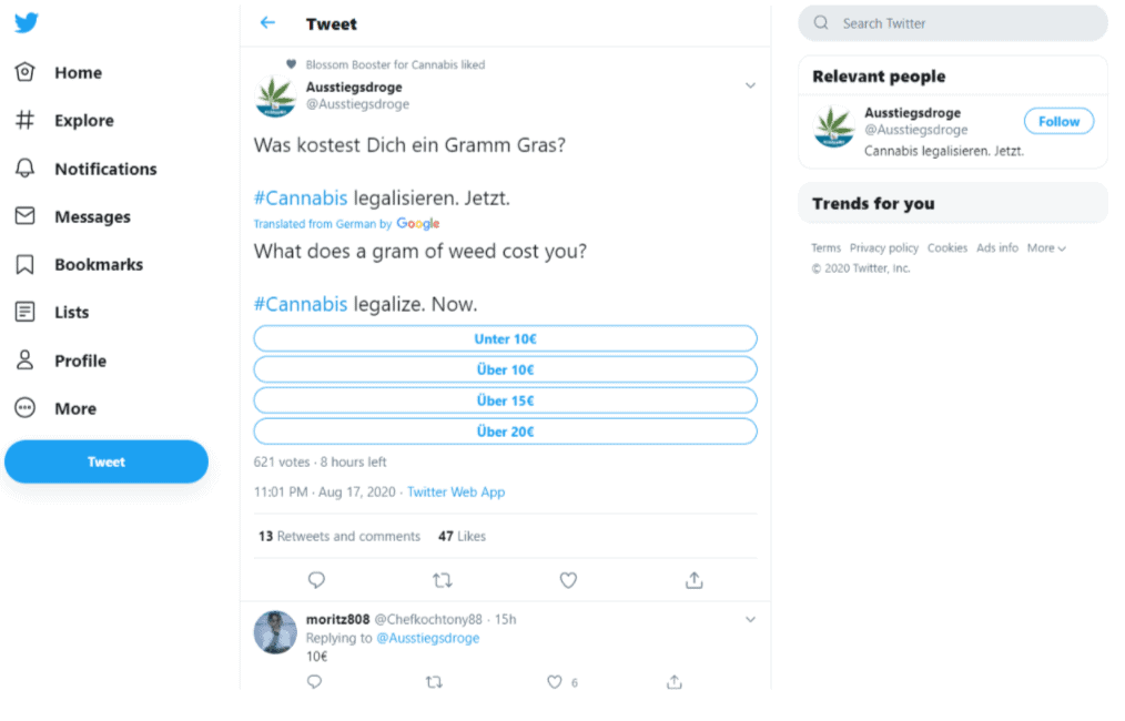 twitter example cannabis marketing